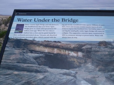 petrified forest agate bridge sign